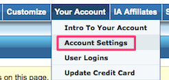 Income Activator account settings