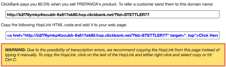 ClickBank code snippet