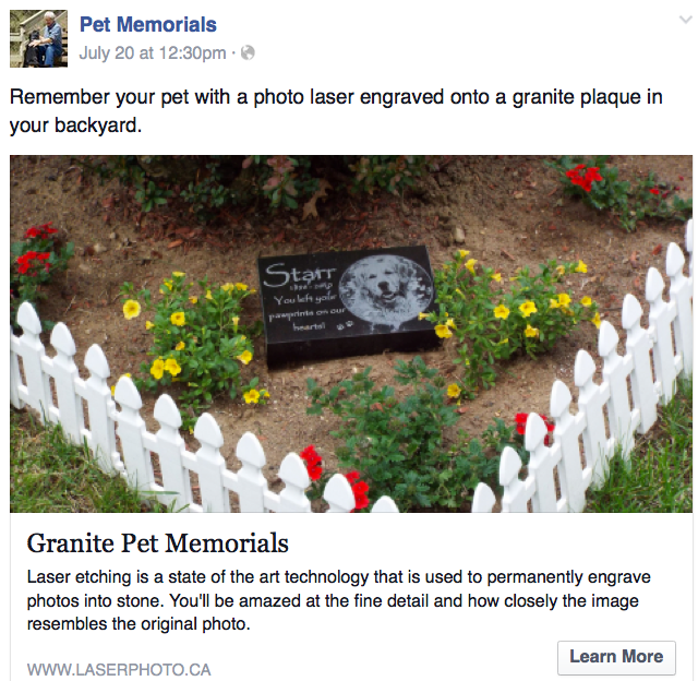 online advertising granite pet memorials