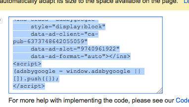 Code for Google ads