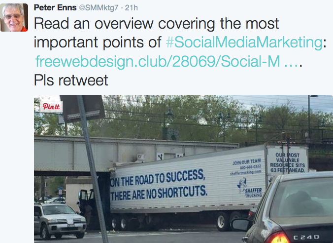 Tweet of the truck stuck under the bridge