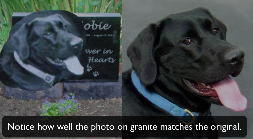 Online Advertising Black and white photo laser etched onto granite pet memorial