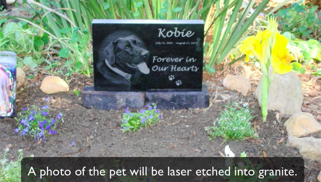 photo laser etched into granite pet memorial