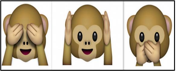 3 monkey emojis