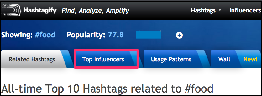 Hashtagify Top Influencers tab