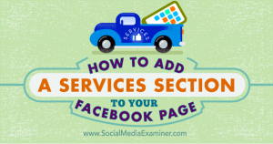 Services section on your Facebook page