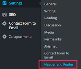Settings - Header and Footer