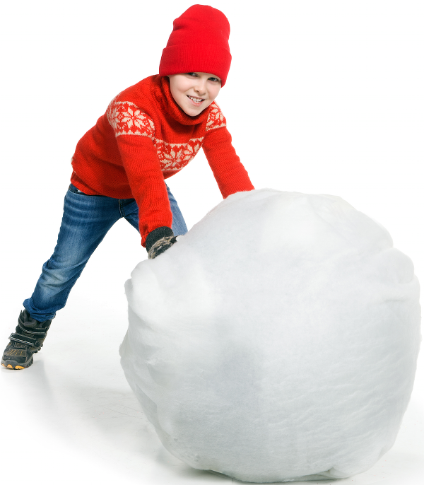 Snowball pushed by boy