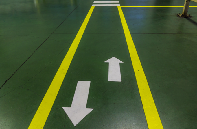 Shapes Yellow road lines white arrows